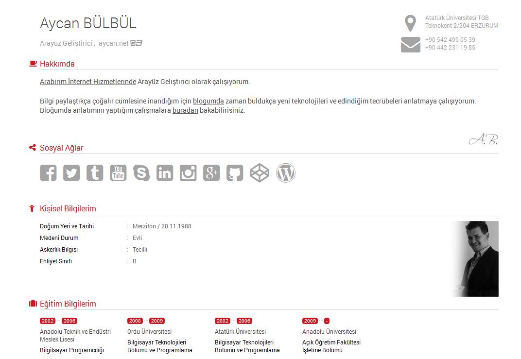 CV HTML paylaşımı